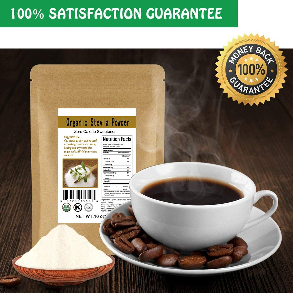 CCnature Organic Stevia Powder Extract Natural Sweetener Zero Calorie Sugar Substitute 16oz by CCnature (Image #7)