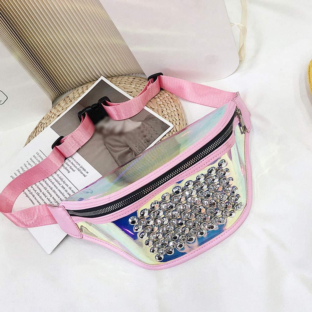 Fashion Women Outdoor Sports Zipper Rivets Messenger Bag Chest Bag Waist Bag