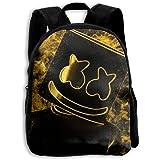 ETP6N5E3C Children Bookbag Marshmello Golden School Backpack Fashion School Bookbag Student Backpack for Boys/Girls
