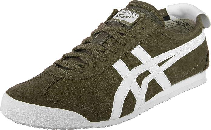 Onitsuka Tiger Mexico 66 Sneakers Unisex Erwachsene Dunkel Olivgrün mit weißen Streifen