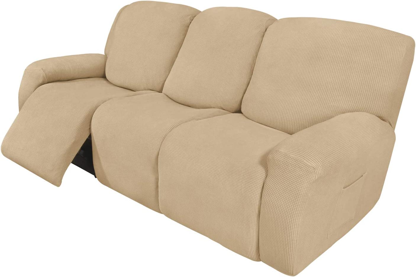 Easy-Going 8 Pieces Recliner Sofa Stretch Sofa Slipcover Sofa Cover Furniture Protector Couch Soft with Elastic Bottom Kids, Spandex Jacquard Fabric Small Checks Sand