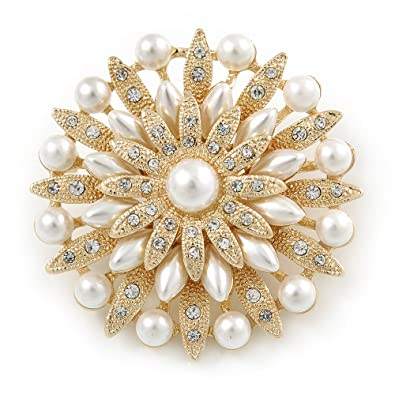 Avalaya Bridal Vintage Inspired White Simulated Pearl, Austrian Crystal Layered Floral Brooch In Gold Tone - 50mm D