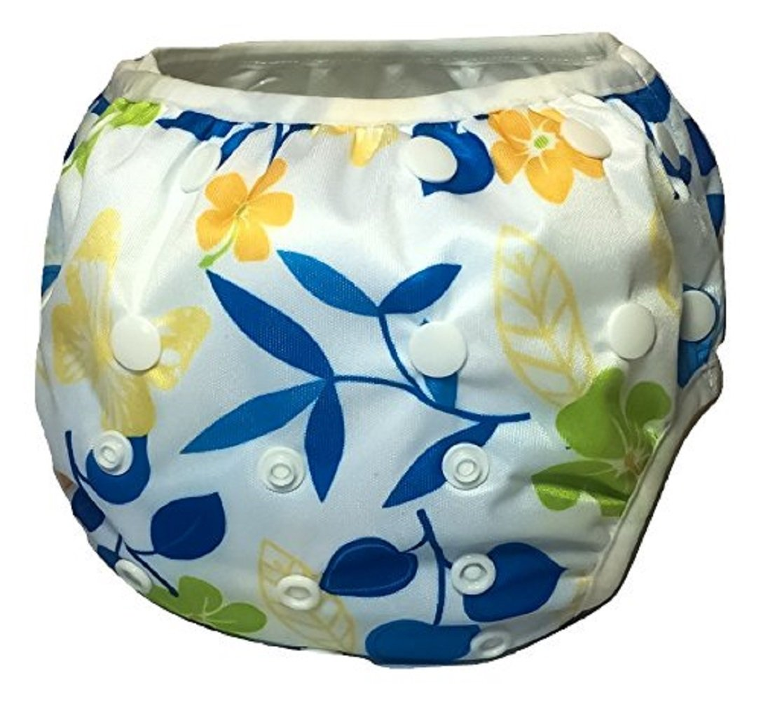 Reusable Swim Diaper - One Size Adjustable, Absorbent, Travel for Babies & Toddlers 0-36 Months up to 30 lbs by Eco-Friendly Terra Babes (Hawaiian)