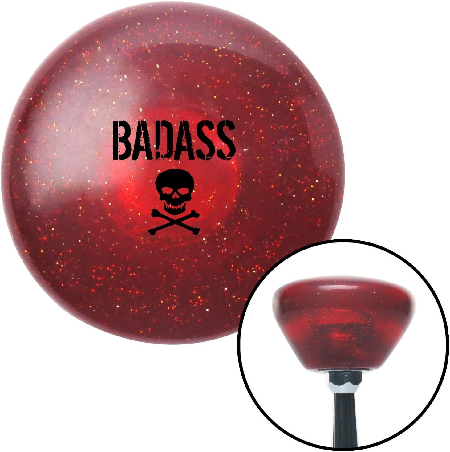 American Shifter 196450 Red Retro Metal Flake Shift Knob with M16 x 1.5 Insert Red Scary Skull
