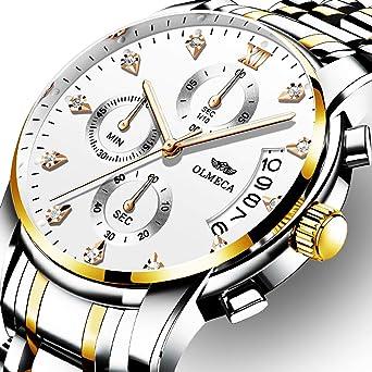 OLMECA Mens Watches Luxury Rhinestone Wristwatches Waterproof Fashion Quartz Watches Elegant Watches for Men