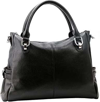 Kenoor Vintage Soft Leather Tote Shoulder Bag Lady Purse Cross Body Handbags for Women and Girls (Black)