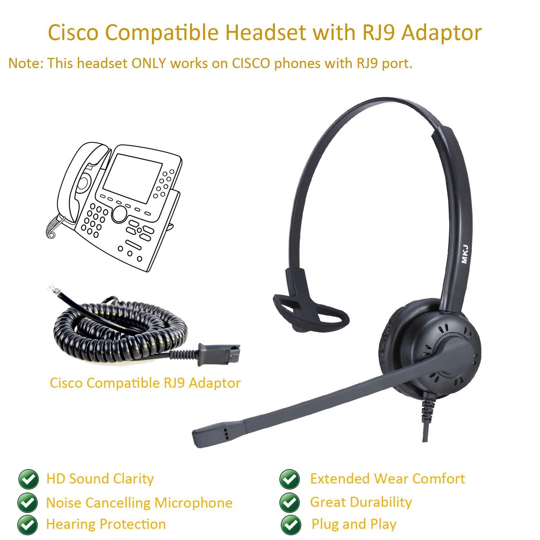 Amazon.com: Corded Desk Phone Headset RJ9 Headset with Microphone Noise  Cancelling for Panasonic Snom Grandstream Yealink Htek: Electronics