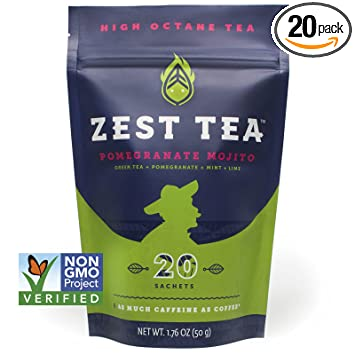 Pomegranate Mojito Green Energy Tea - Healthy Coffee Substitute - 140 mg  caffeine per cup (