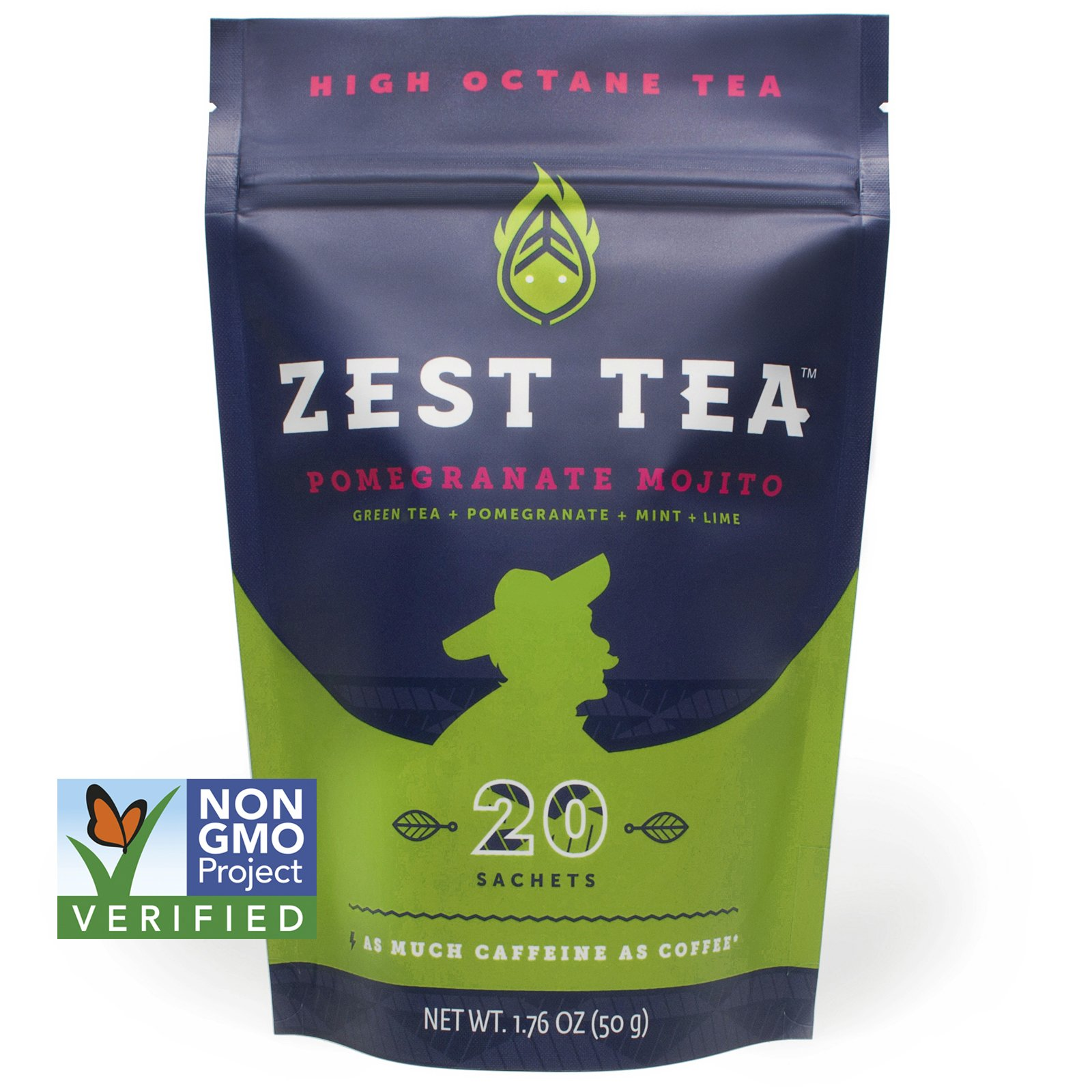 Pomegranate Mojito Green Energy Tea - Healthy Coffee Substitute - 140 mg caffeine per cup (20 Sachets) (50 g)