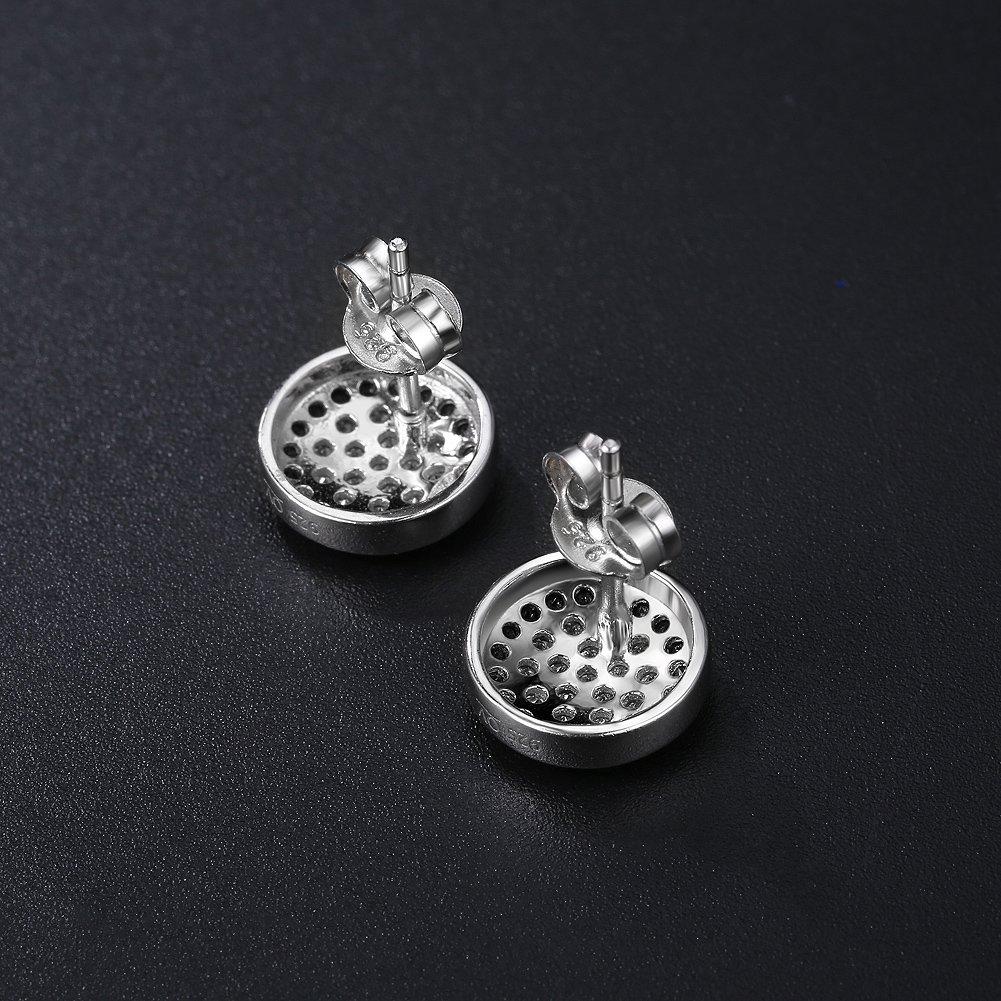 J.shine Hommes Boucles doreilles en Argent 925 Obsidienne Boucles doreille Zircon Cubique de Cadeau Parfait Pour la Saint-valentin