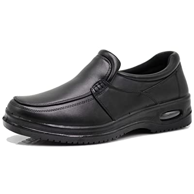 AL Mens Black Oil Resistant Professional Industrial Anti Slip Restaurant Rubber Air Sole Working Comfy Shoes: Shoes