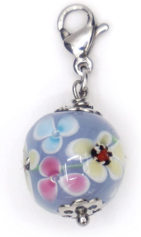 Perle Artisanale en Verre Pendentif charm forme ronde 12mm.