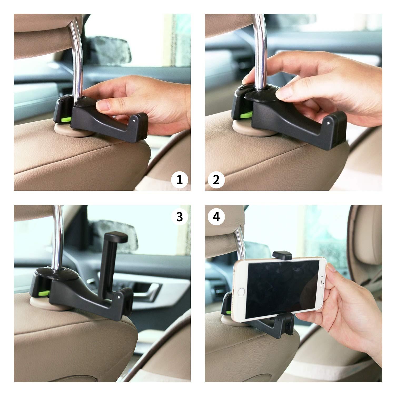 Auto-Kopfst/ützen-Haken,ASANMU Auto-Haken Auto-Aufh/änger mit Telefon-Halter 2 St/ück ,Universal-Fahrzeug-Auto-Sitz-Haken-Halter mit Handy-Halterung