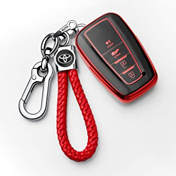 4Buttons Key fob Cover case Key Holder only for Keyless go Genuine Leather Protector Keychain Suit for Toyota with 2018-2020 Toyota RAV4 Camry Avalon C-HR Prius Corolla N//P Car Key Case