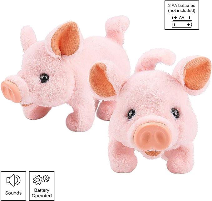 nose /& tail wiggles eyes light up hog animals TOY WALKING SNORTING PLUSH PIG!!