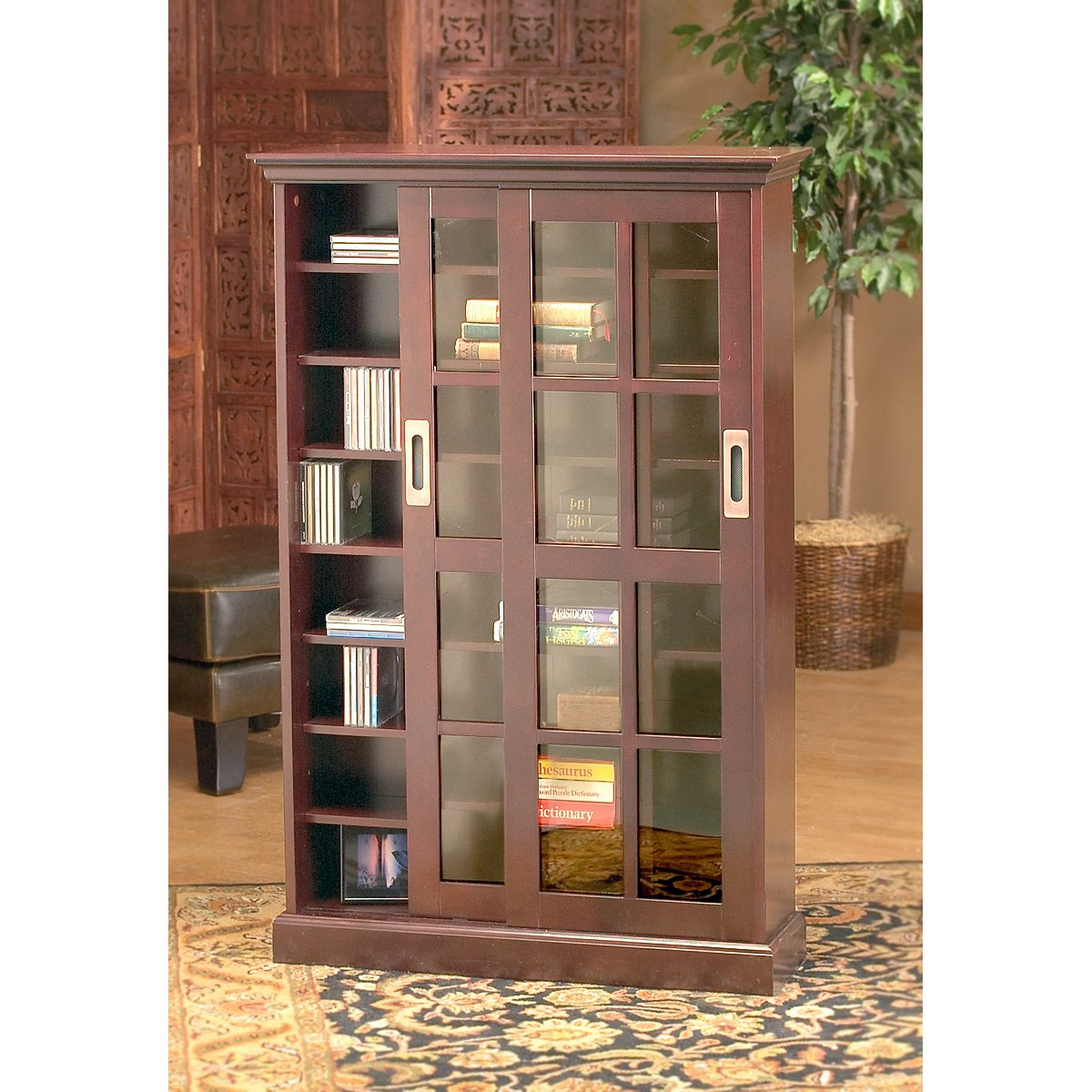 shelves bookcase dark bookcases attractive with finish doors glass in wood brown and sliding