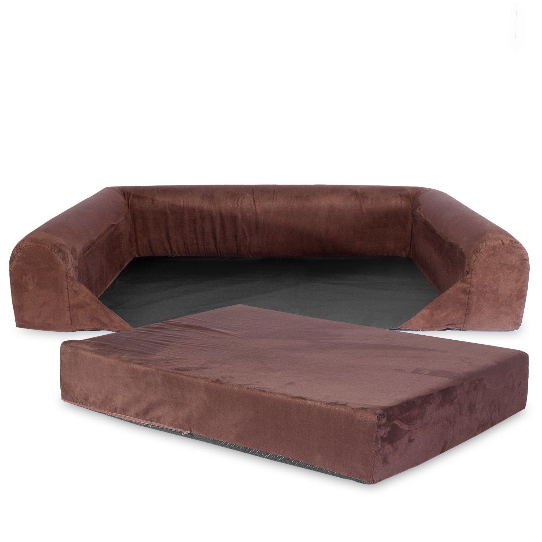 KOPEKS Sofa Cama Lounge para Perro Mediano Perros y Gatos Mascotas de Tamaño Pequeño a Medianos con Memoria Viscoelástica Ortopédica 73 x 60 x 14 cm - S - M ...