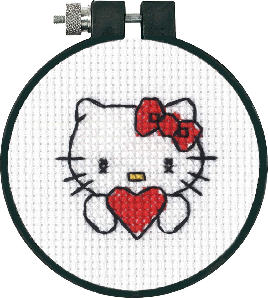 11 Count White Aida Dimensions Arts and Crafts Hello Kitty Heart Cross Stitch Kit for Beginners 3D