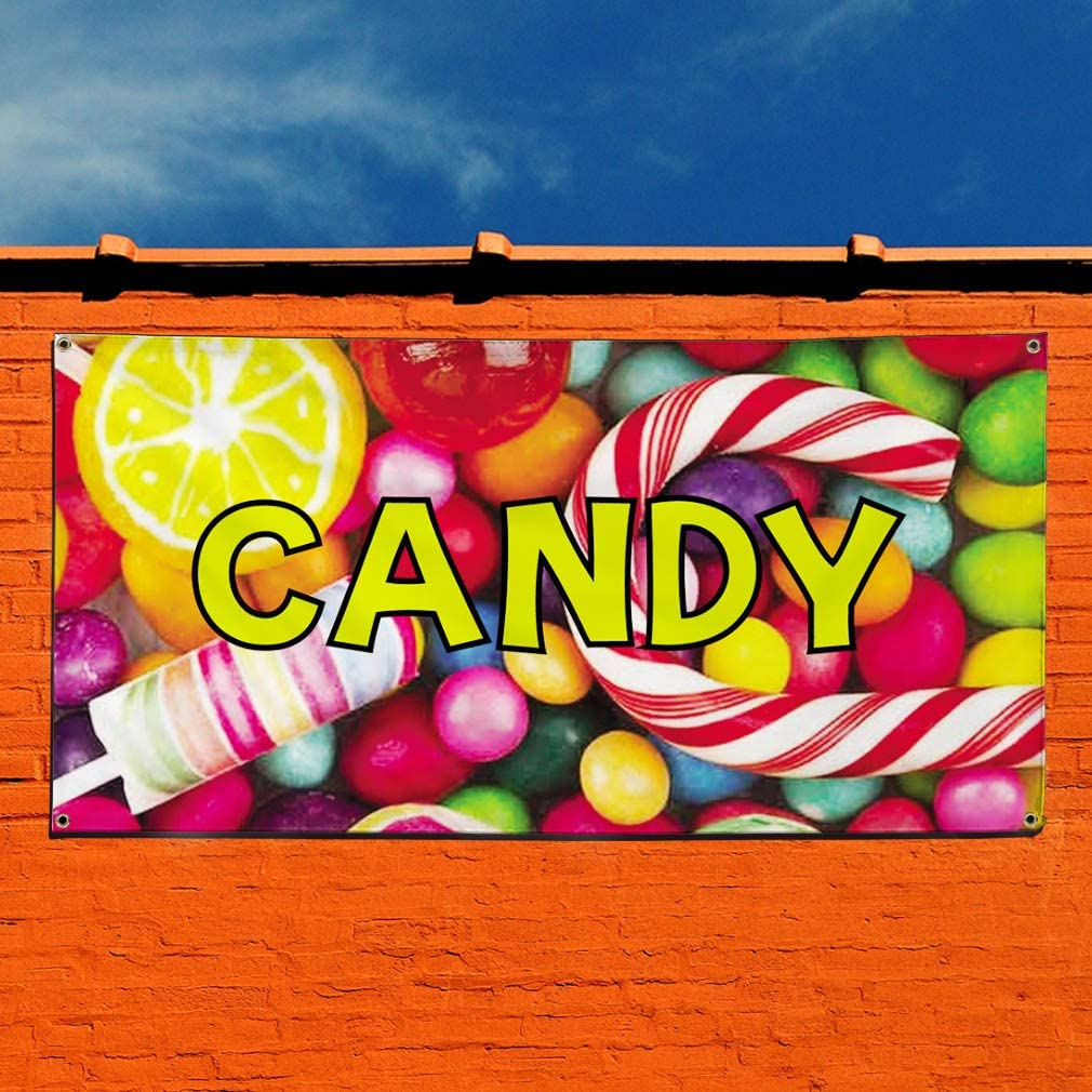 One Banner Multiple Sizes Available Vinyl Banner Sign Candy #1 Style A Retail Candy Marketing Advertising Multi-Colored 8 Grommets 44inx110in