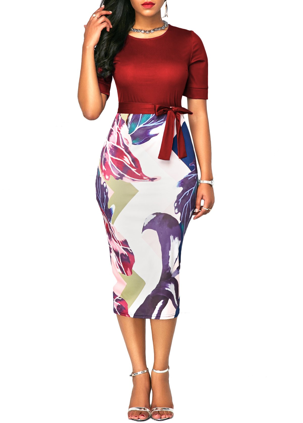 BETTE BOUTIK Women's Below Knee Classic Dress Office Lady Dress with Belted Red XX-Large