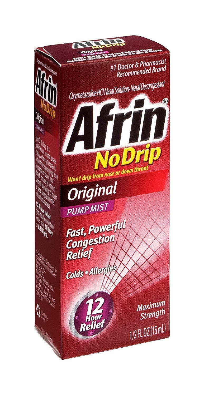 Afrin No Drip Original Pump Mist Nasal Solution, 15 ML (Pack of 6) by Afrin
