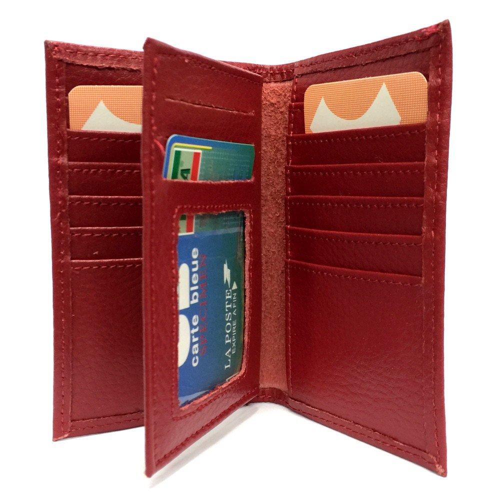LOLUNA® Porte-carte 4 rangées pour 17 cartes format hauteur sans plastique en cuir dans plusieurs couleur (Bleu)