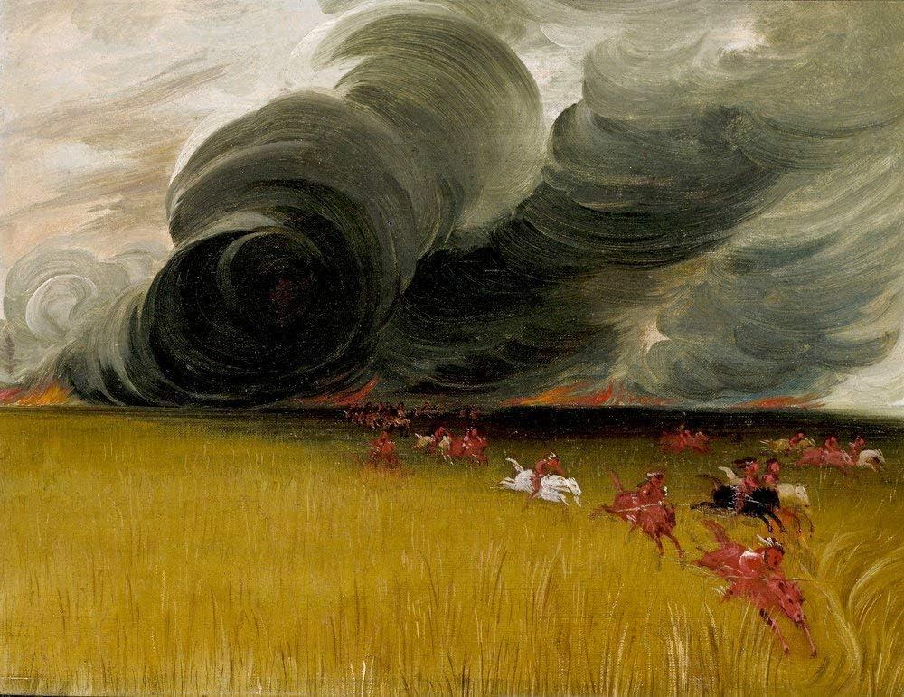 Canvas Print Wall Art - Prairie Meadows Burning - by George CATLIN - 20