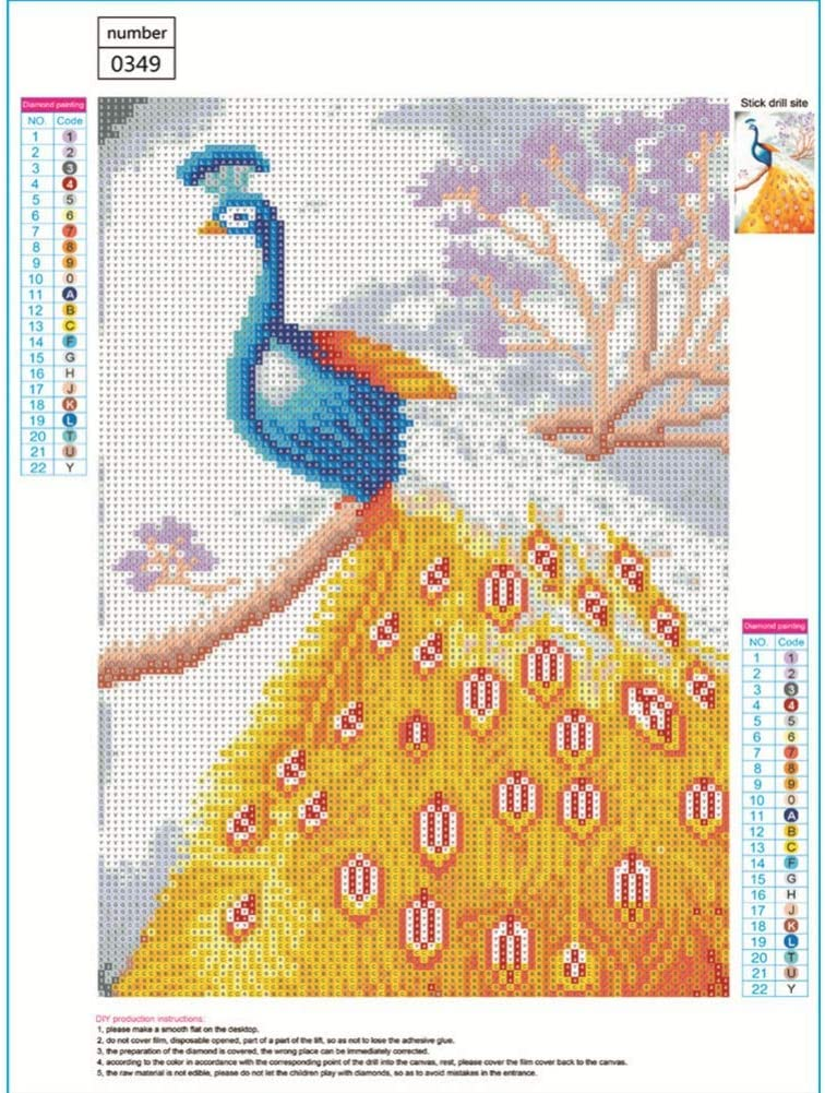 Lucky Bird Peacock Balai DIY 5D Diamond Painting Paintworks Paint by Number Kits Crystal Rhinestone Sewing Cross Stitch Embroidery Pictures Full Drill Arts Craft for Home Wall Decor Kids and Adults