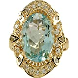 6.43 Carat Natural Blue Aquamarine and Diamond (F-G Color, VS1-VS2 Clarity) 14K Yellow Gold Cocktail Ring for Women…