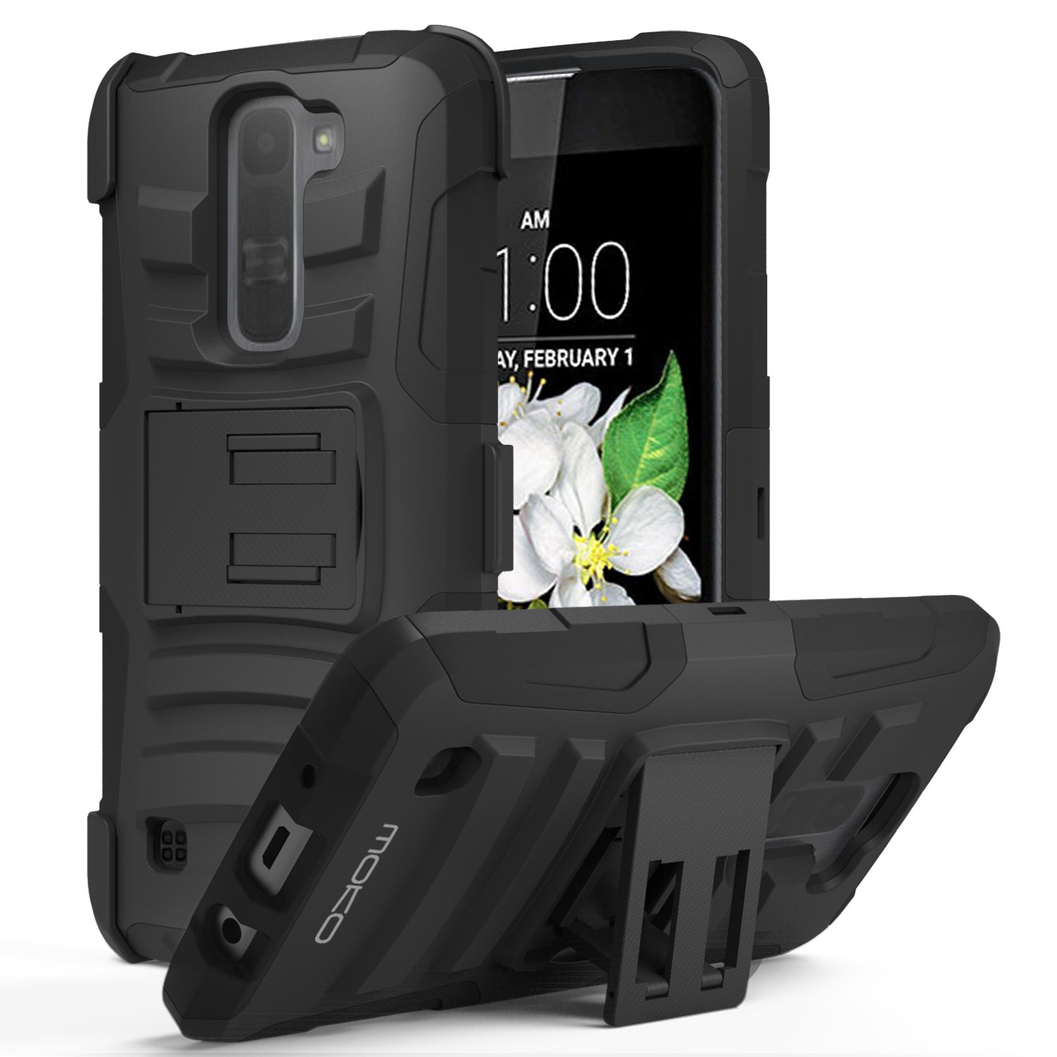 LG Tribute 5 Case, MoKo Shock Absorbing Hard Cover Ultra Protective Heavy Duty Case with Holster Belt Clip + Built-in Kickstand for LG Tribute 5 / LG K7 5.0 Inch (2016) - Black 4326847347