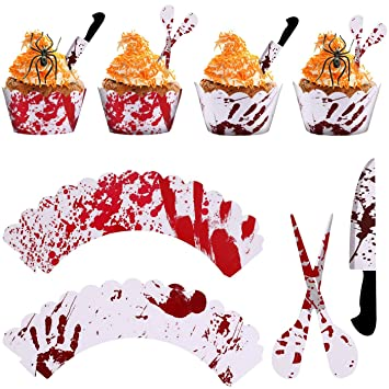 jtaisc halloween decorations 24 pcs skeletons bat food toothpicks cupcake muffin toppersmixed packaging