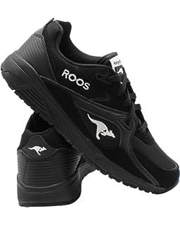 NEW MENS KANGAROOS ROOS 2 BLACK GREY WHITE SUEDE LACE UP RUNNING SNEAKERS