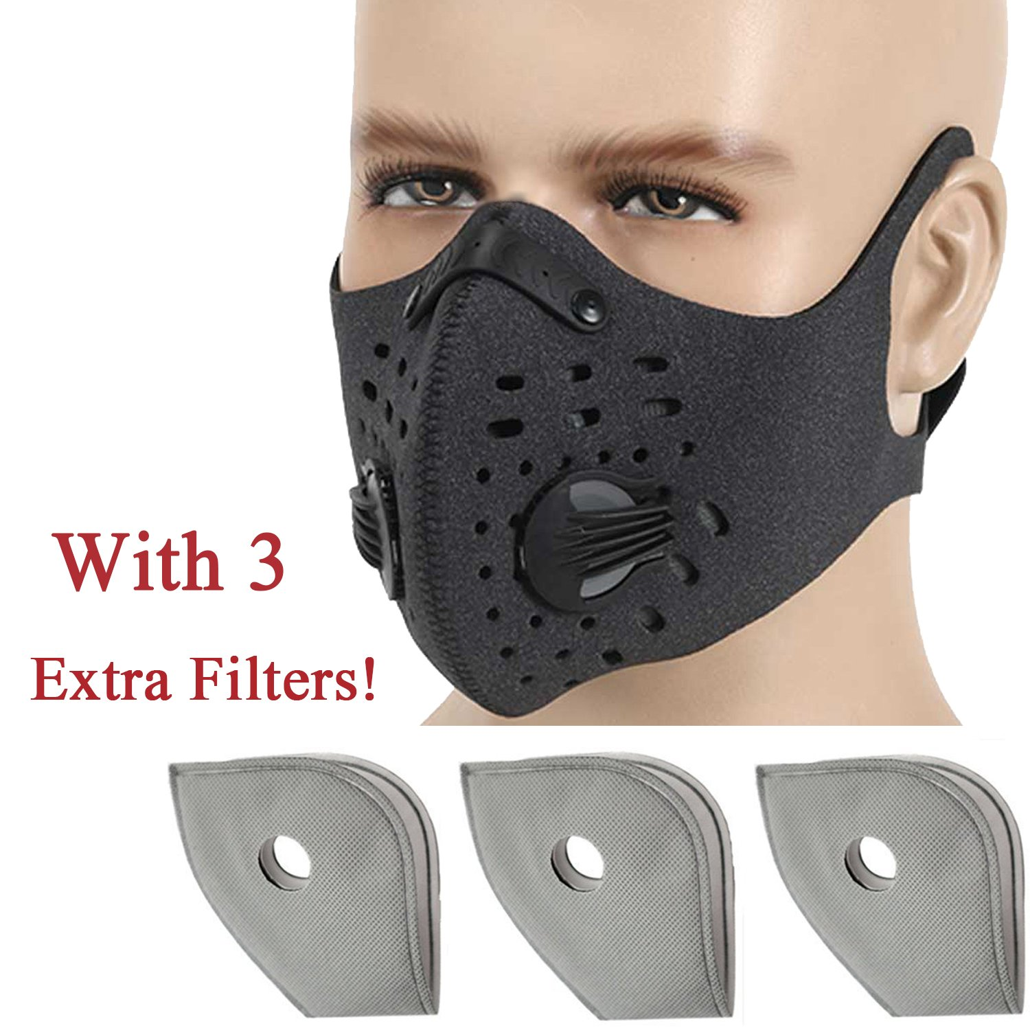 Anqier Dust mask,Activated Carbon Dustproof Mask Exhaust Gas Anti Pollen Allergy PM2.5 Dust Mask-with Extra Filter Cotton Sheet for Cycling, Running,Outdoor Activities
