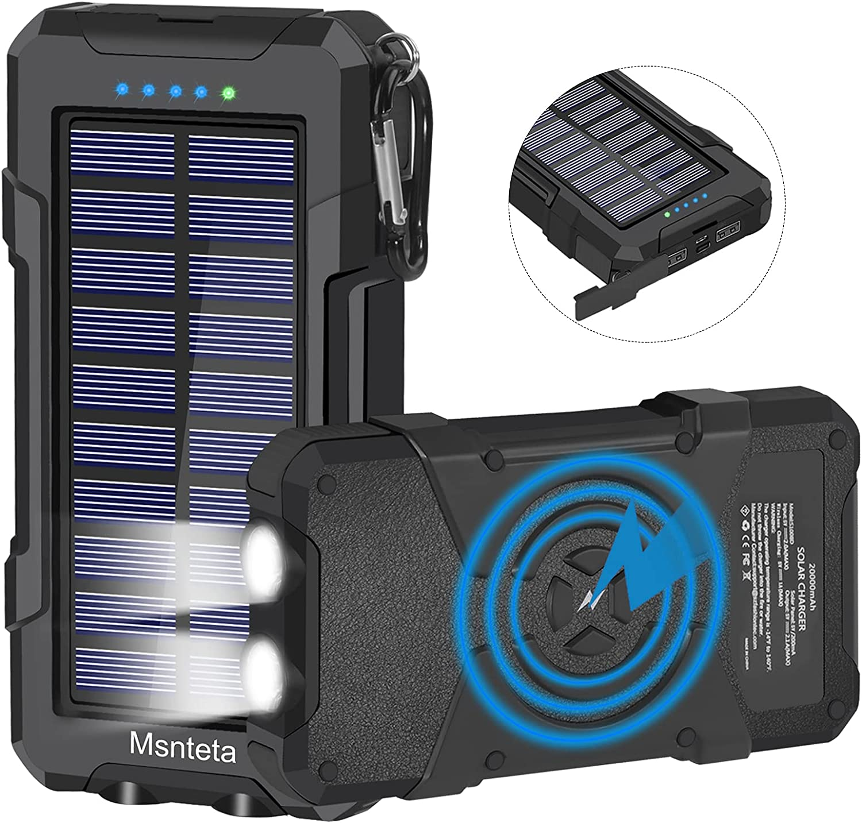 Solar Charger 20000mAh, Qi Wireless Power Bank,5W Msnteta Black
