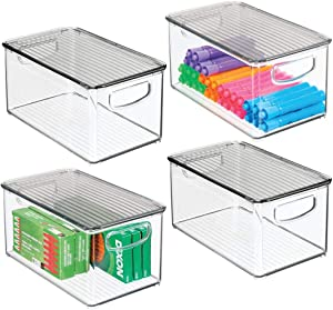 mDesign Plastic Stackable Office Storage Box Container with Handles, Lid for Home Office to Hold Gel Pens, Erasers, Tape, Pens, Pencils, Markers, Notepads, Highlighters - 4 Pack - Clear/Smoke Gray