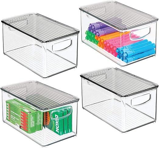 mDesign Praktische Aufbewahrungsbox mit integrierten Griffen Badezimmer- oder B/üroutensilien f/ür die Aufbewahrung von K/üchen- durchsichtig