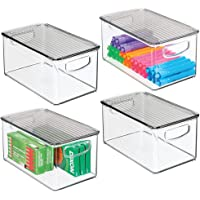 mDesign Plastic Stackable Office Storage Box Container with Handles, Lid for Home Office to Hold Gel Pens, Erasers, Tape…