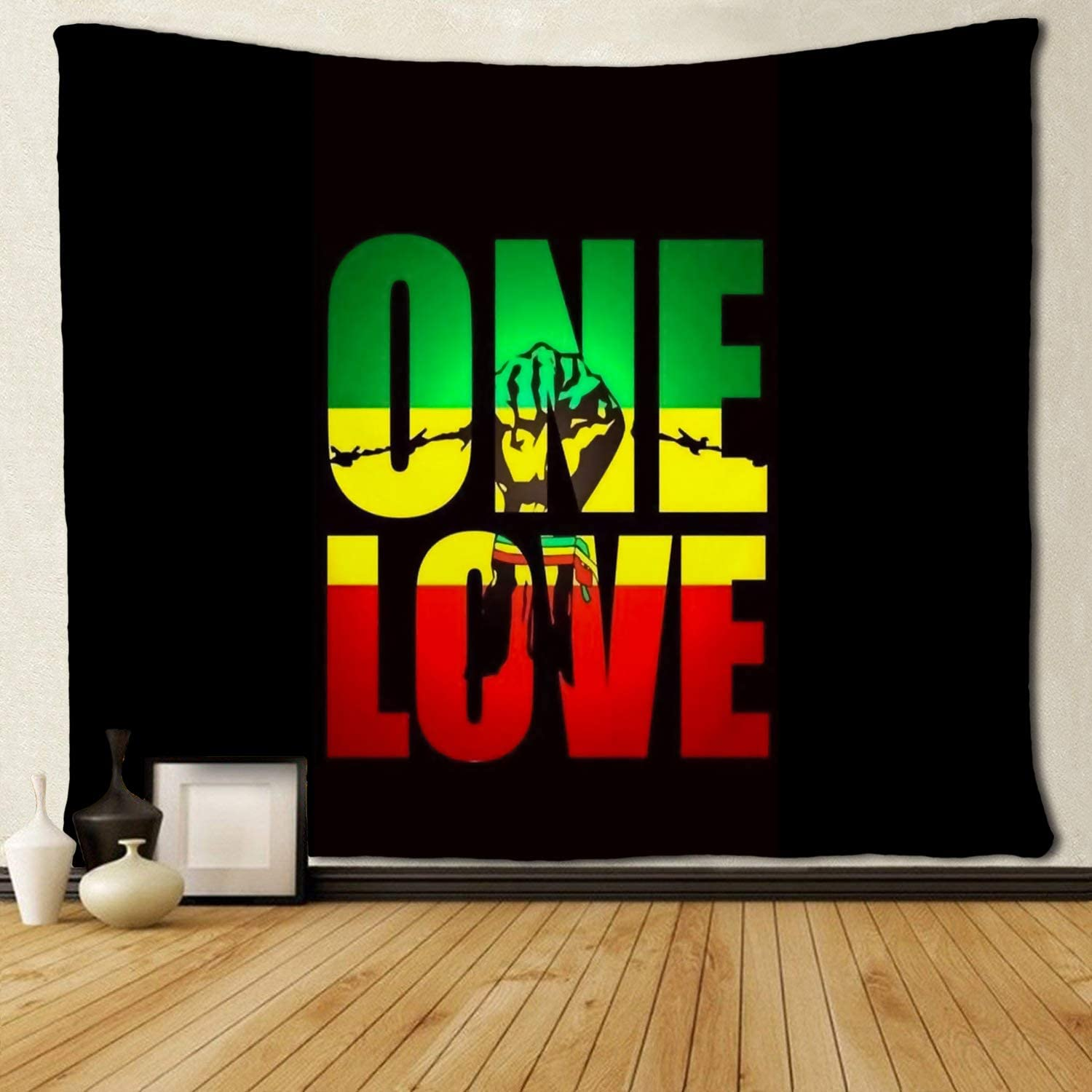 SARA NELL Wall Hanging Tapestry Reggae Rasta One Love Green Yellow Red Tapestries Wall Tapestry Home Decorations for Living Room Bedroom Dorm Decor in 50x60 Inches