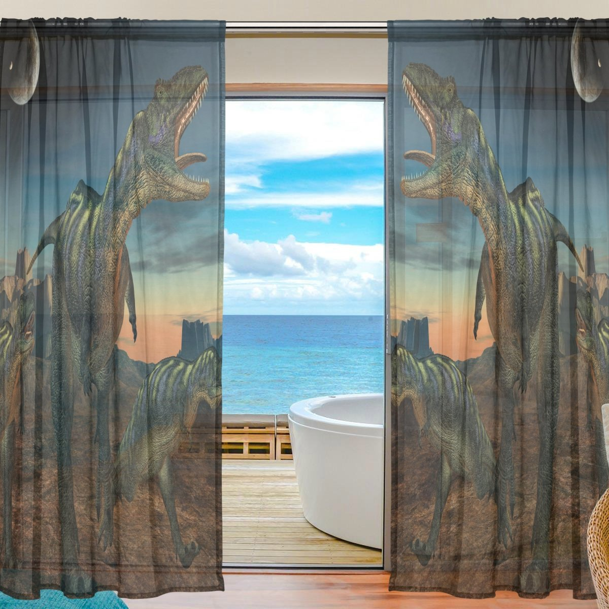 SEULIFE Window Sheer Curtain, African Animal Dinosaur Moon Voile Curtain Drapes for Door Kitchen Living Room Bedroom 55x84 inches 2 Panels