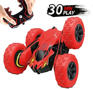 Seckton Remote Control Stunt Cars for Kids, Toys for Ages 5-12 Year Old Boys Girls, 4WD 2.4GHz Off Road Truck, Double Sided 360° Rotating RC Car Birthday Gifts(All Batteries Included)