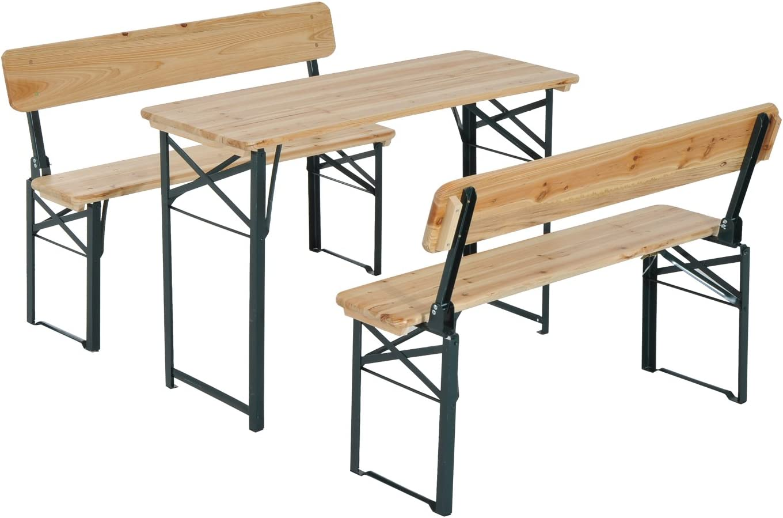 Outsunny Conjunto de Mesa y Bancos con Respaldo para Picninc Plegables para Jardín o Camping Mesa de 118x46x75cm Color Madera y Negro