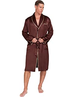 270902cf49 MYK 22 Momme 100% Pure Mulberry Silk Men s Lightweight Kimono Style Spa and  Lounge Robe