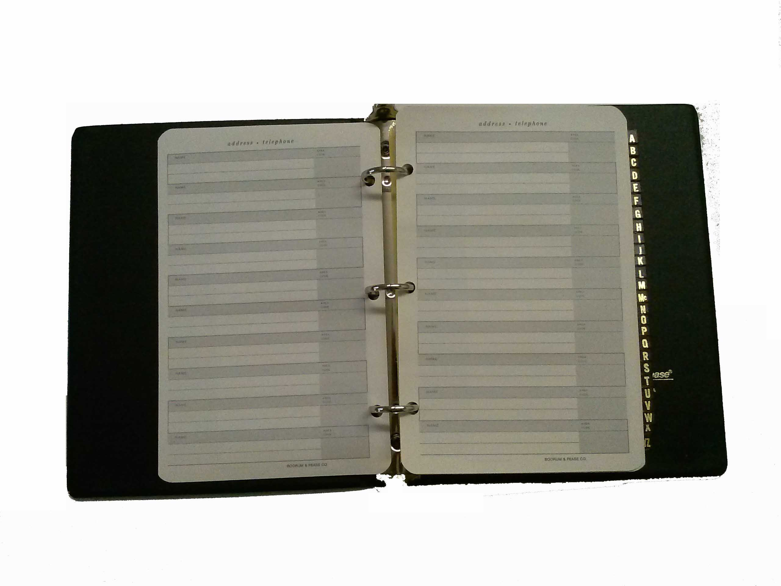 Boorum Pease P8 Telephone Address Book Gold Lettered Tabs A-Z Black Cover 3 Ring Binder 7'' (W) x 9'' (H) x 1 1/2'' (D) by Boorum Pease