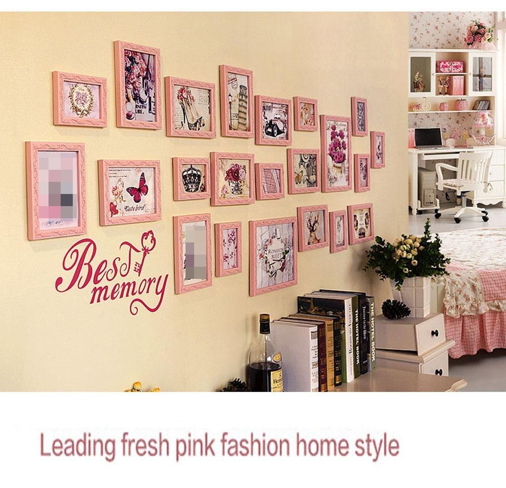 ZZZSYZXL 22 Rahmen aus Massivholz Fotowand Wohnzimmer Schlafzimmer Esszimmer große Wandfotorahmen kreative Kombination , pink