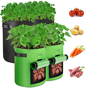 Outerman 2-Pack 7 Gallon+2-Pack 10 Potato Grow Bags with 300G Thickened Non-Woven Fabric and Aeration Fabric POTS with Handles,Suit for Potato/Plant Container,Black+Green