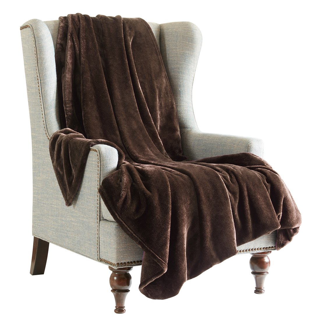 Chocolate Brown Flannel Throw Blanket For Sofa, Size 150x200 cm, Solid color Soft Fluffy Cozy Lightweight Double Bed Throws Bedspread SCM