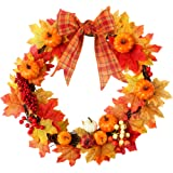 HAKACC 15 inch DIY Fall Wreath Autumn Wreath Supplies with Grapevine Wreath, Pumpkin,Maple Leaves and Artificial Berries…
