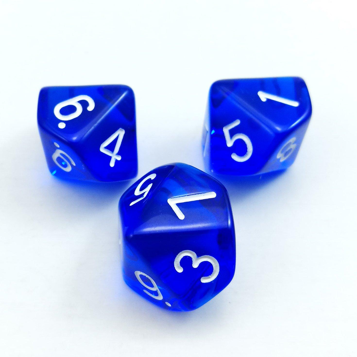 10 C/ôt/és Cube 1-10 Bescon Poly/édrique 10 C/ôt/és d/és avec num/éro 1-10 10pcs Set Bleu transparent 10 Face d/és