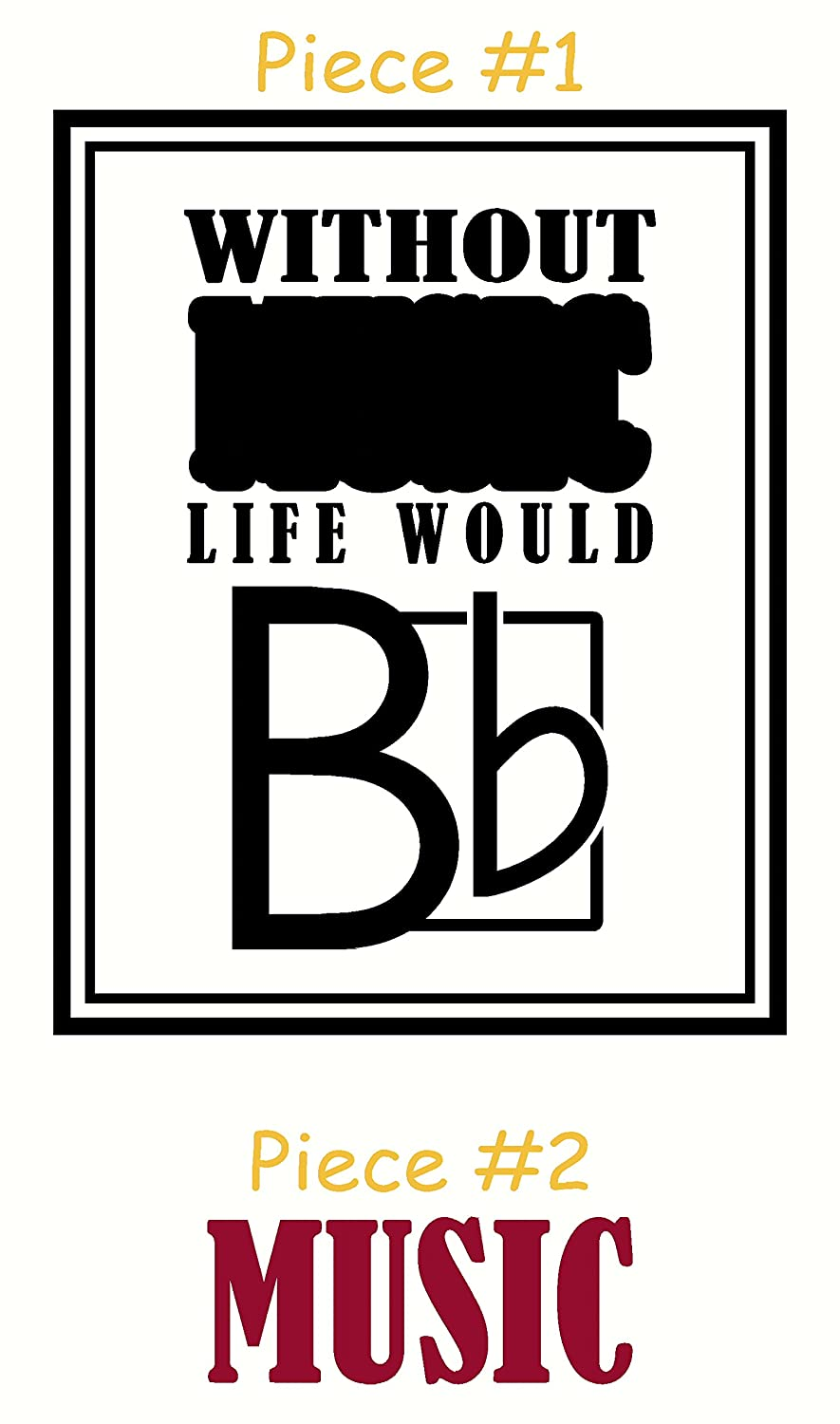 Wall Decor Plus More WDPM3365 Without Music Life Would be Flat with Note Wall Art Decal Vinyl Sticker 2 Color Set Black /& Red 23x18-Inch