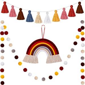 3 Pieces Tassel Garland Pom Pom Ball Banner Cotton Tassel Garland Banner Macrame Rainbow Wall Hanging Decor for Boho Home Party Baby Shower Supplies (Brown Rainbow Colors)